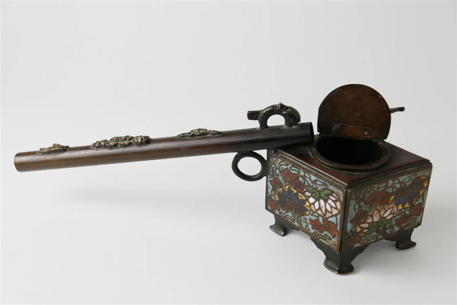 Chinese Patina Bronze Smoking Pipe, circa 1880