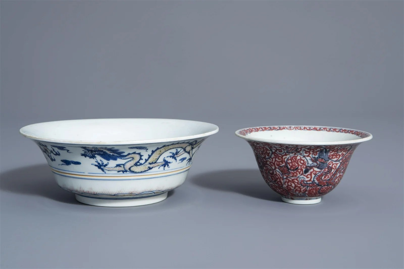 Two Chinese blue, white and copper red bowls, Kangxi