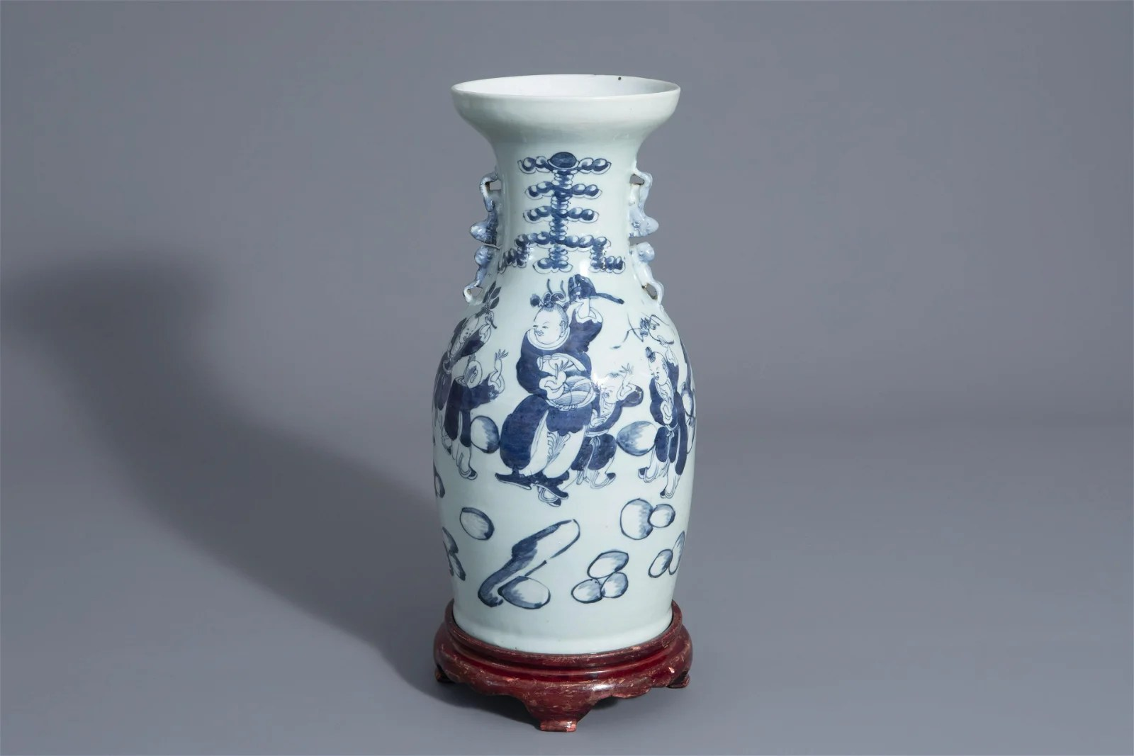 A Chinese blue and white celadon ground vase with