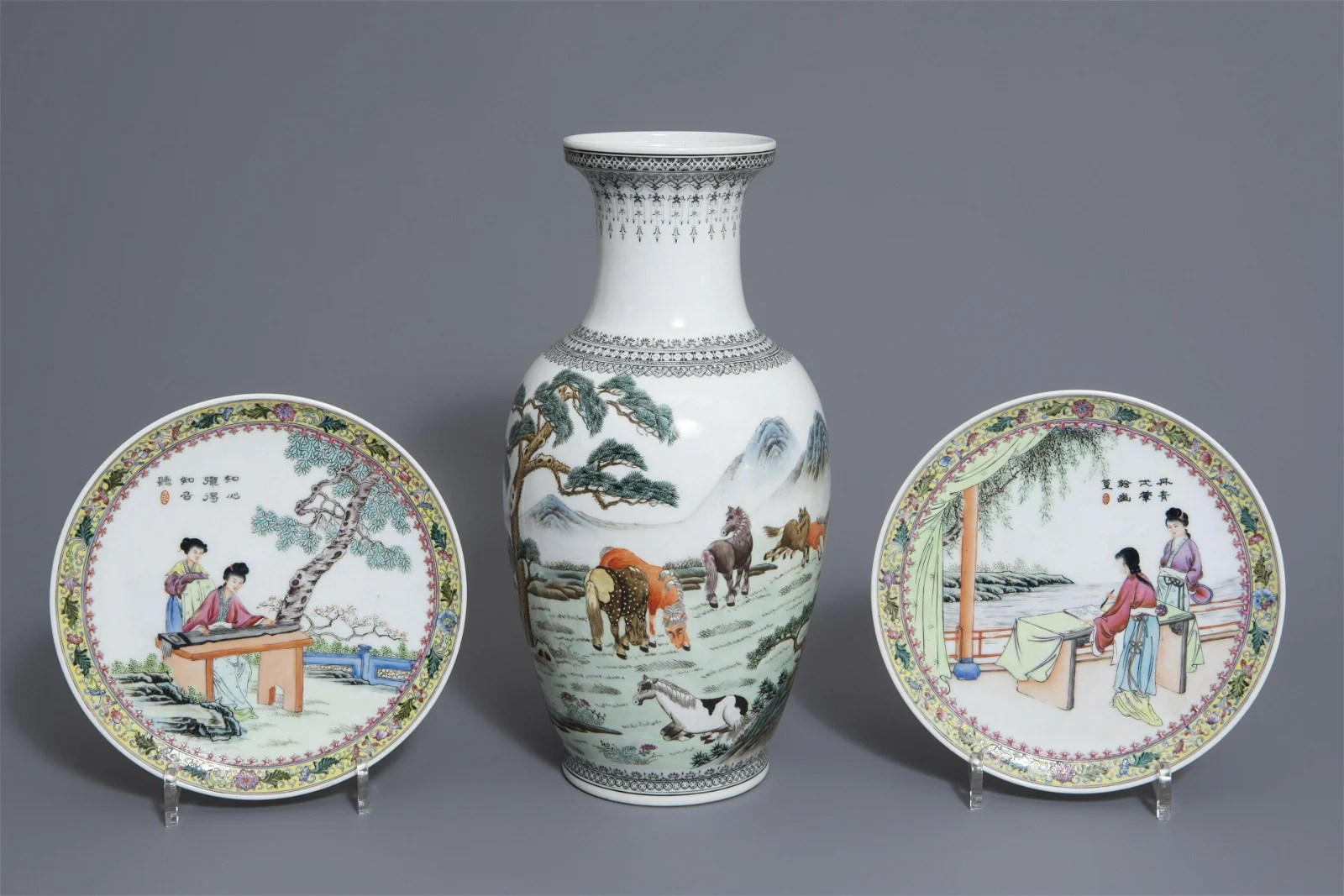 A pair of Chinese famille rose plates and a 'Horses of