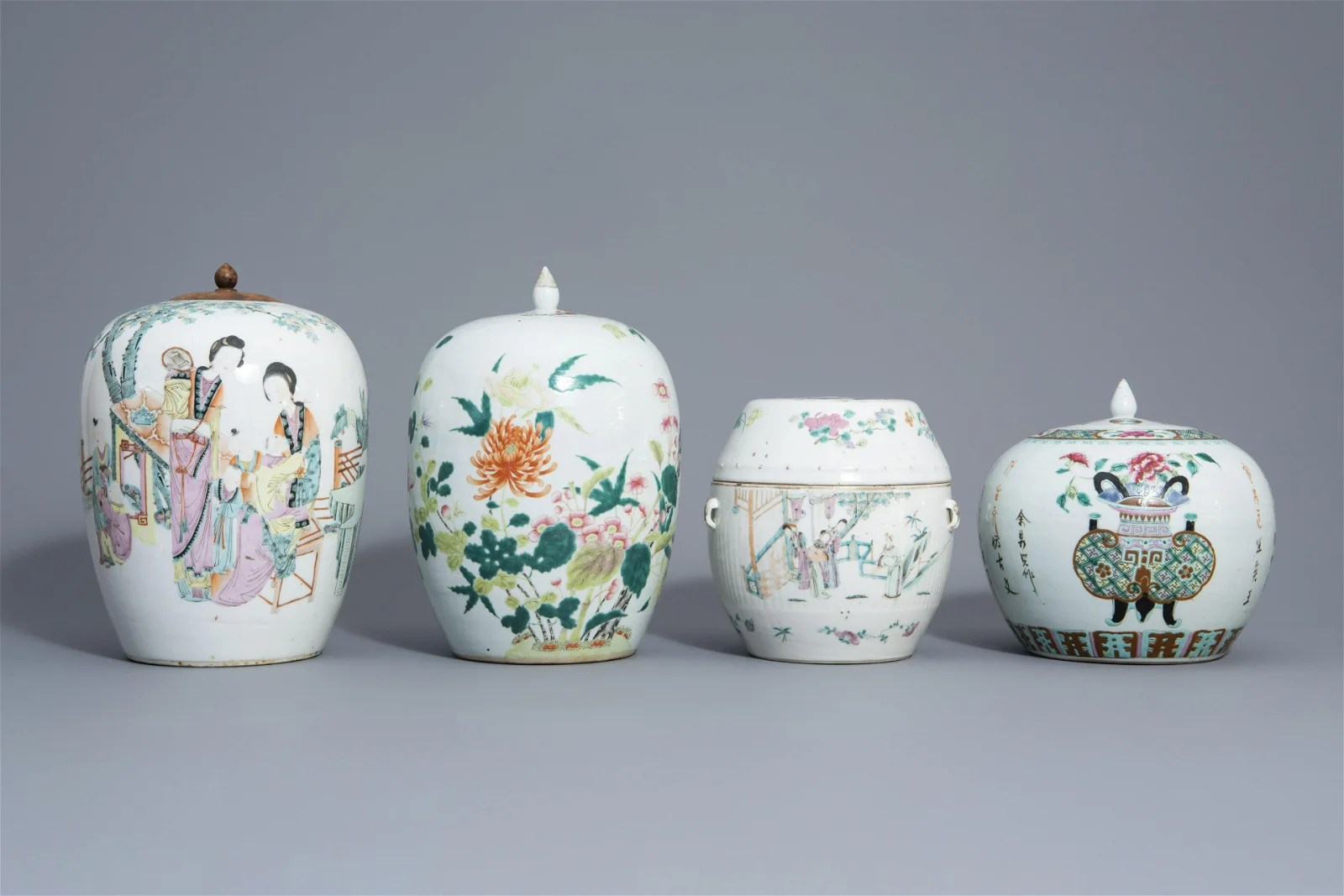 Four Chinese famille rose jars and covers with