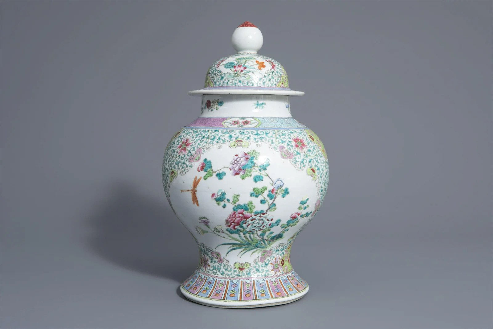 A Chinese famille rose vase and cover with floral