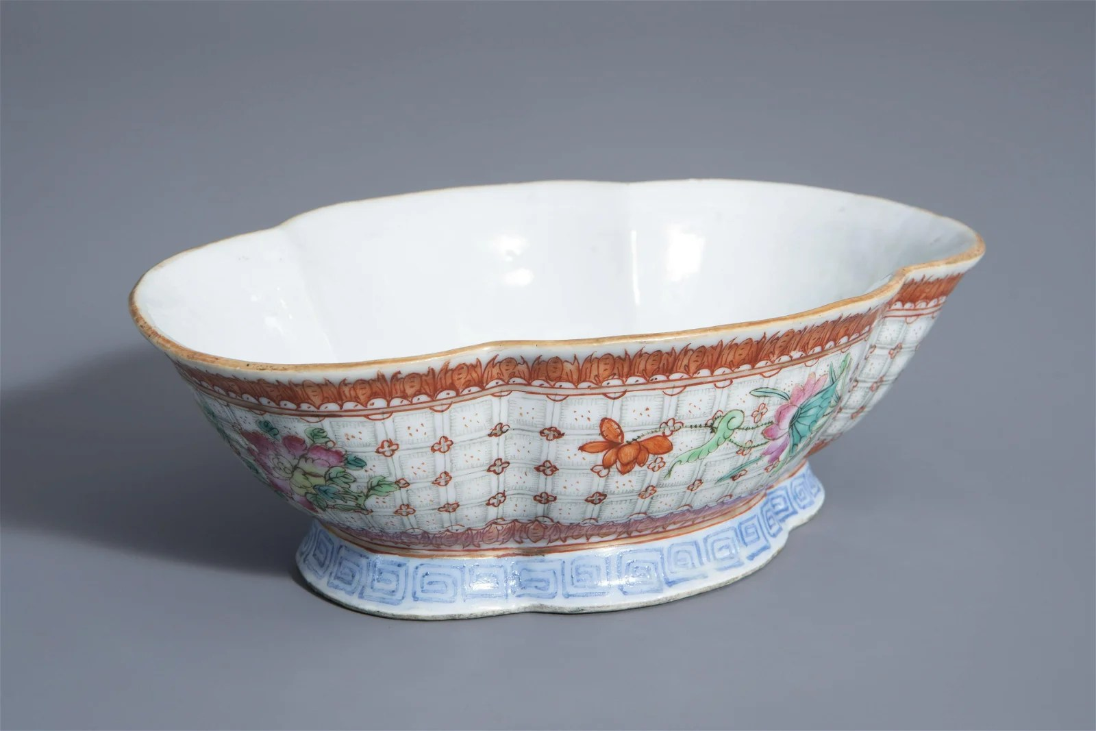 A Chinese famille rose quadrilobed bowl with floral