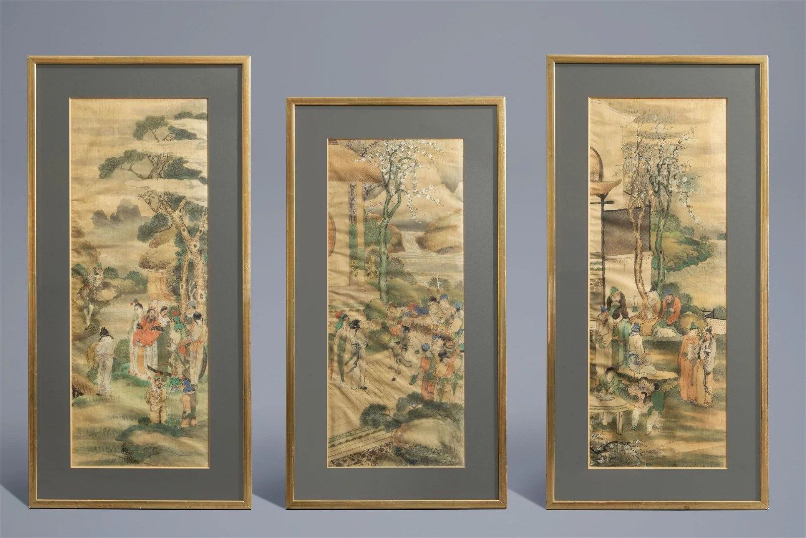 Chinese school, ink and colour on silk: Three scenes