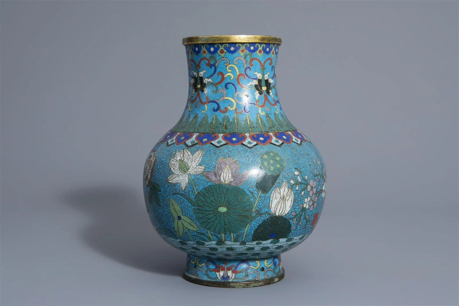 A Chinese cloisonné vase with floral design, 19th C.