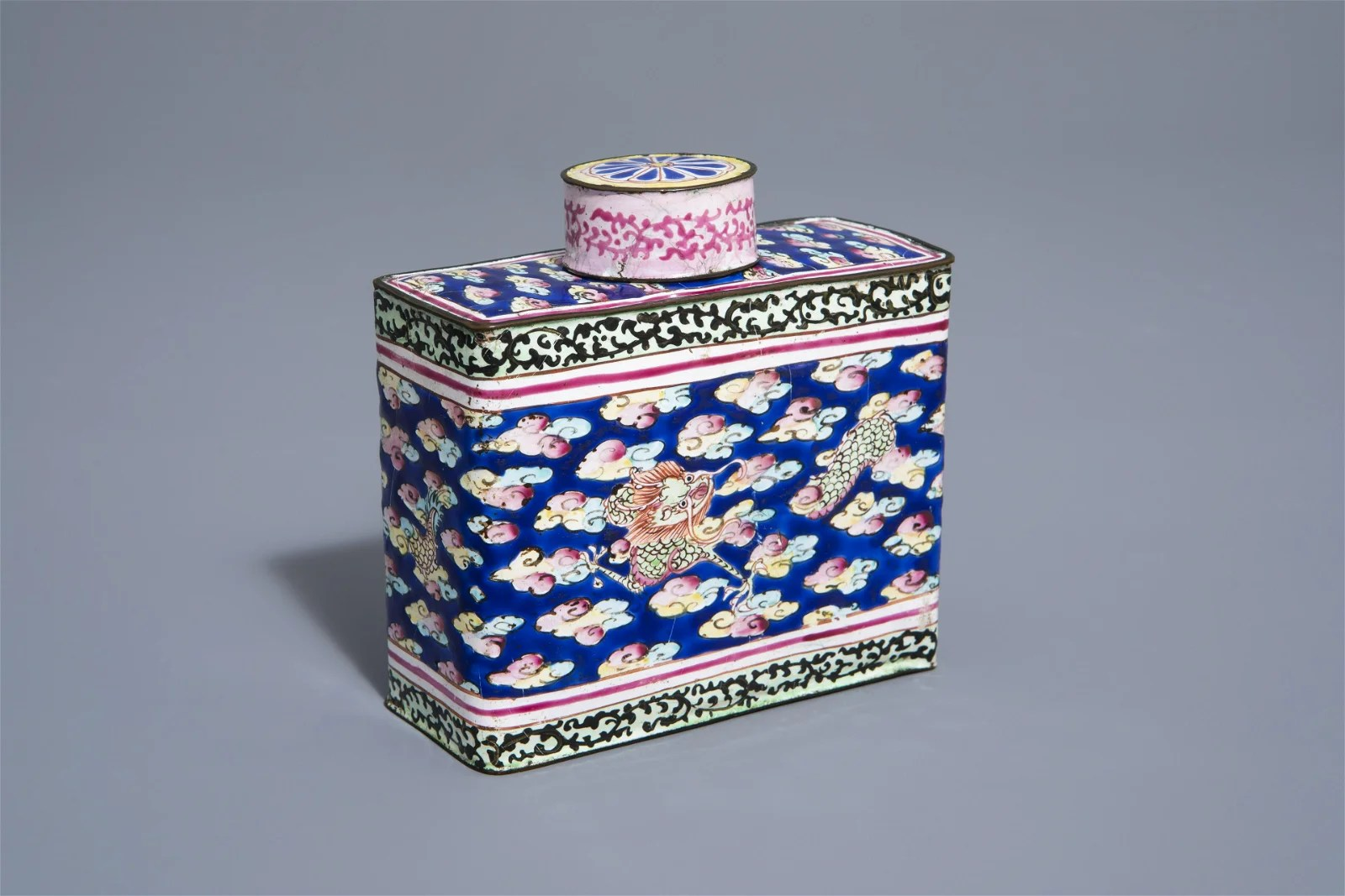A Chinese Canton enamel tea caddy and cover,