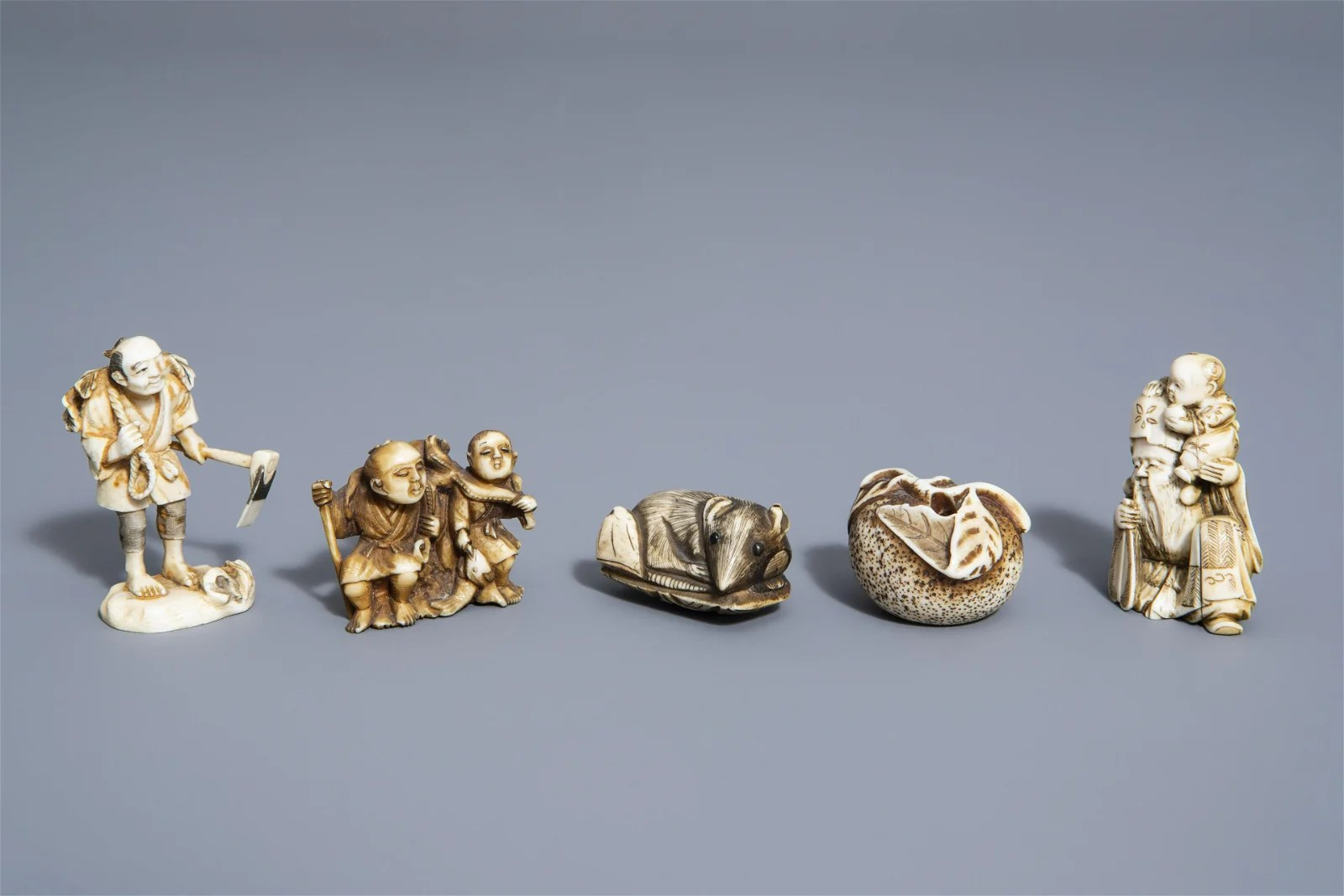Five Japanese netsuke with different designs, Meiji