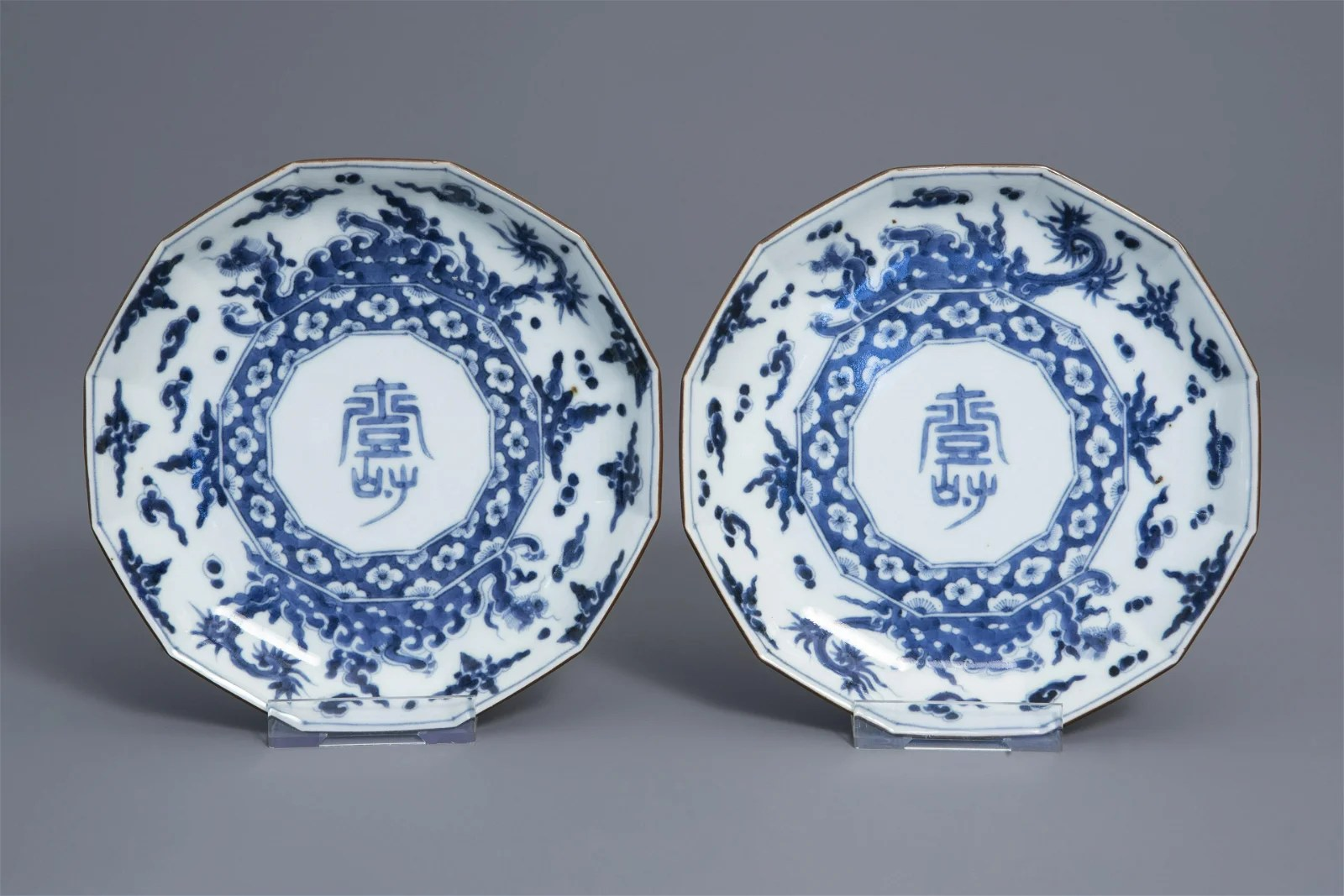 A pair of Japanese blue and white Kakiemon style