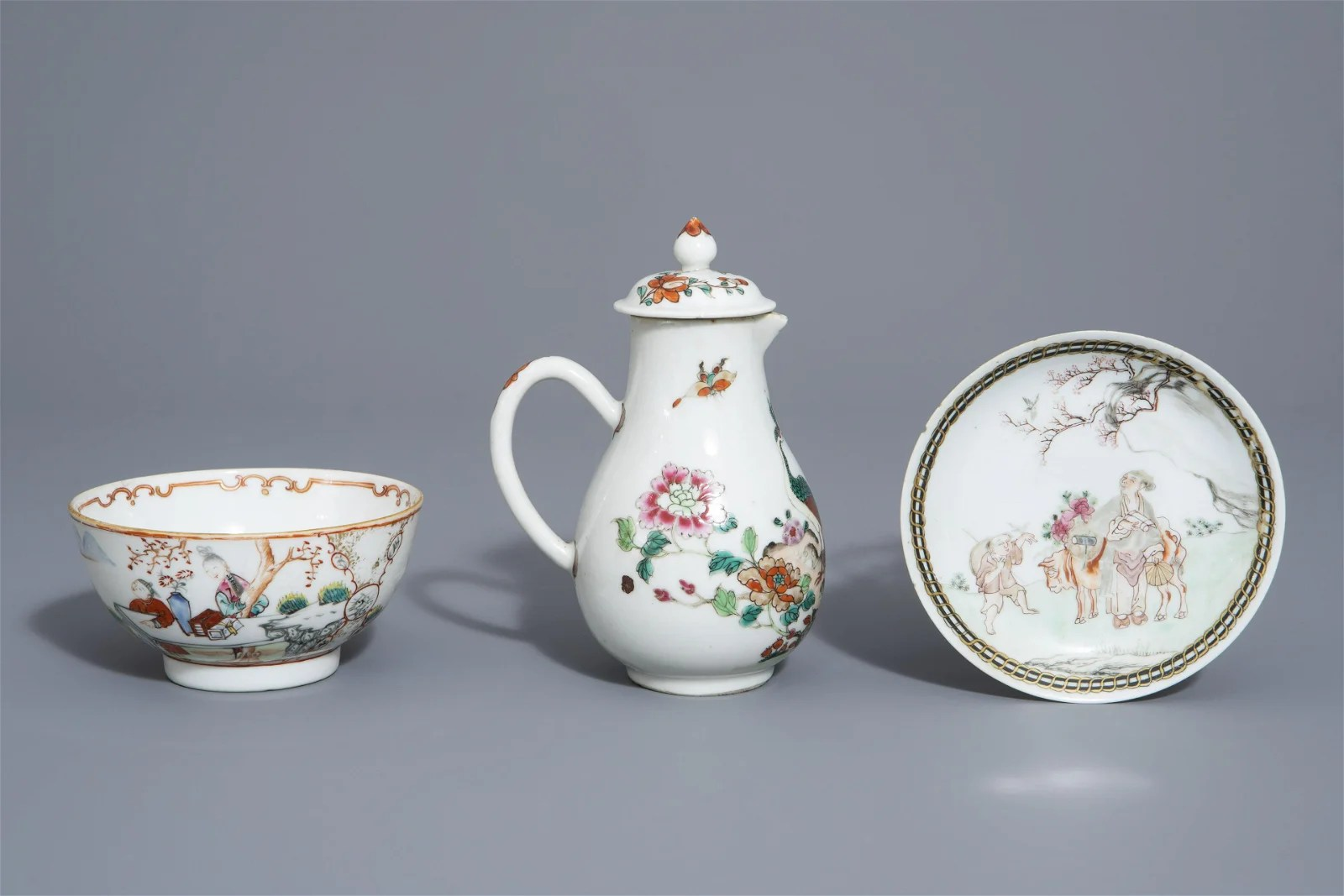 A Chinese famille rose 'peacock' ewer, a fine saucer