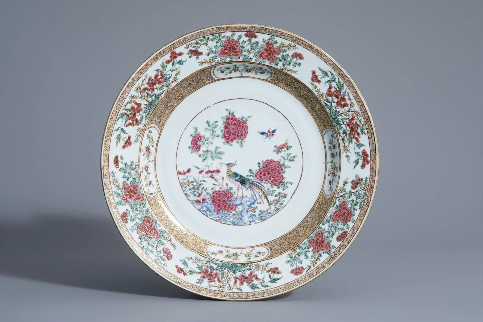 A Chinese famille rose pheasant charger, Yongzheng