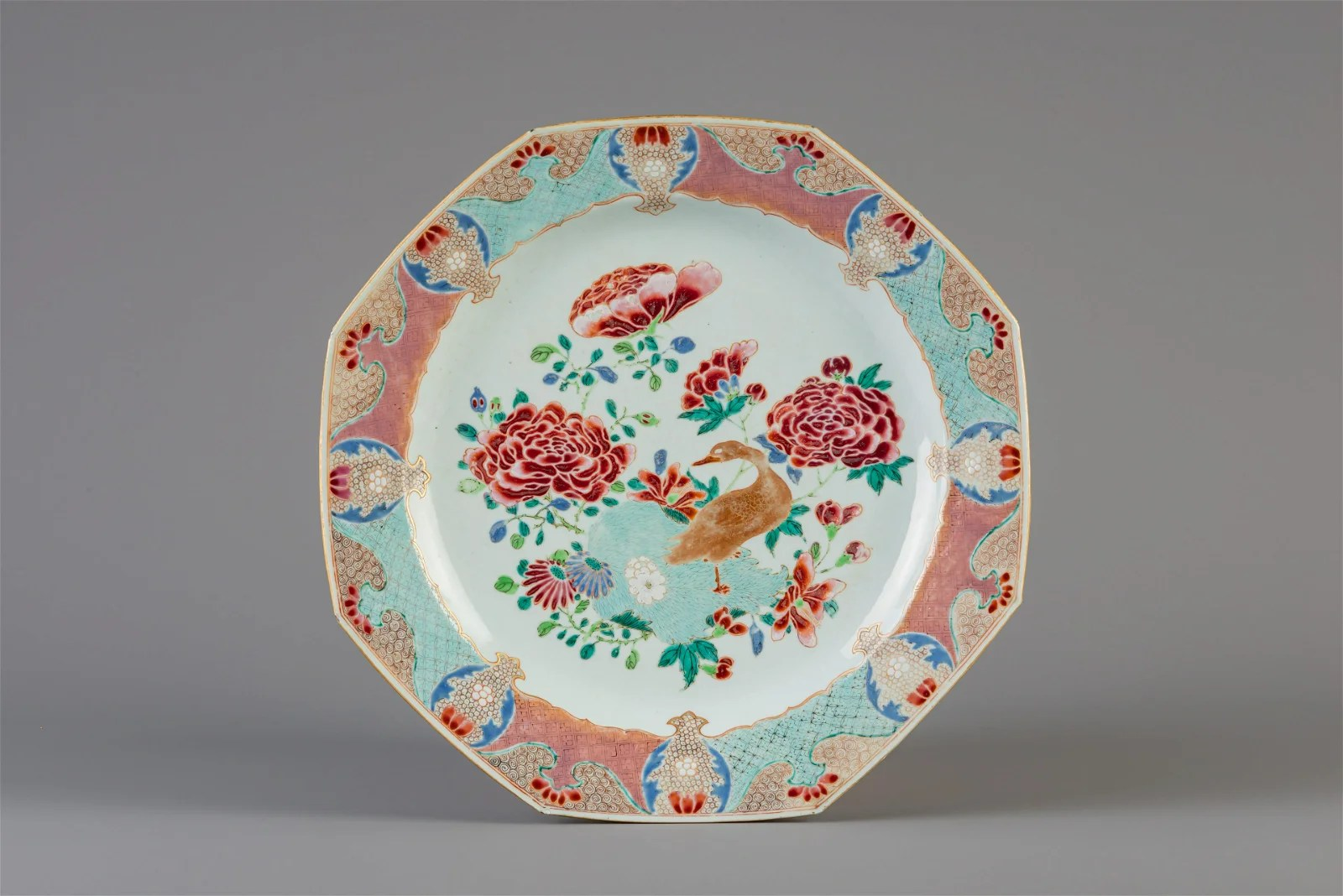 An octagonal Chinese famille rose charger with a goose