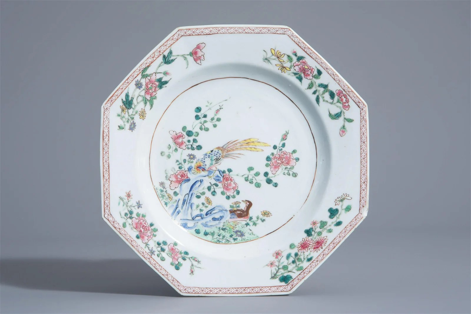 An octagonal Chinese famille rose plate with birds