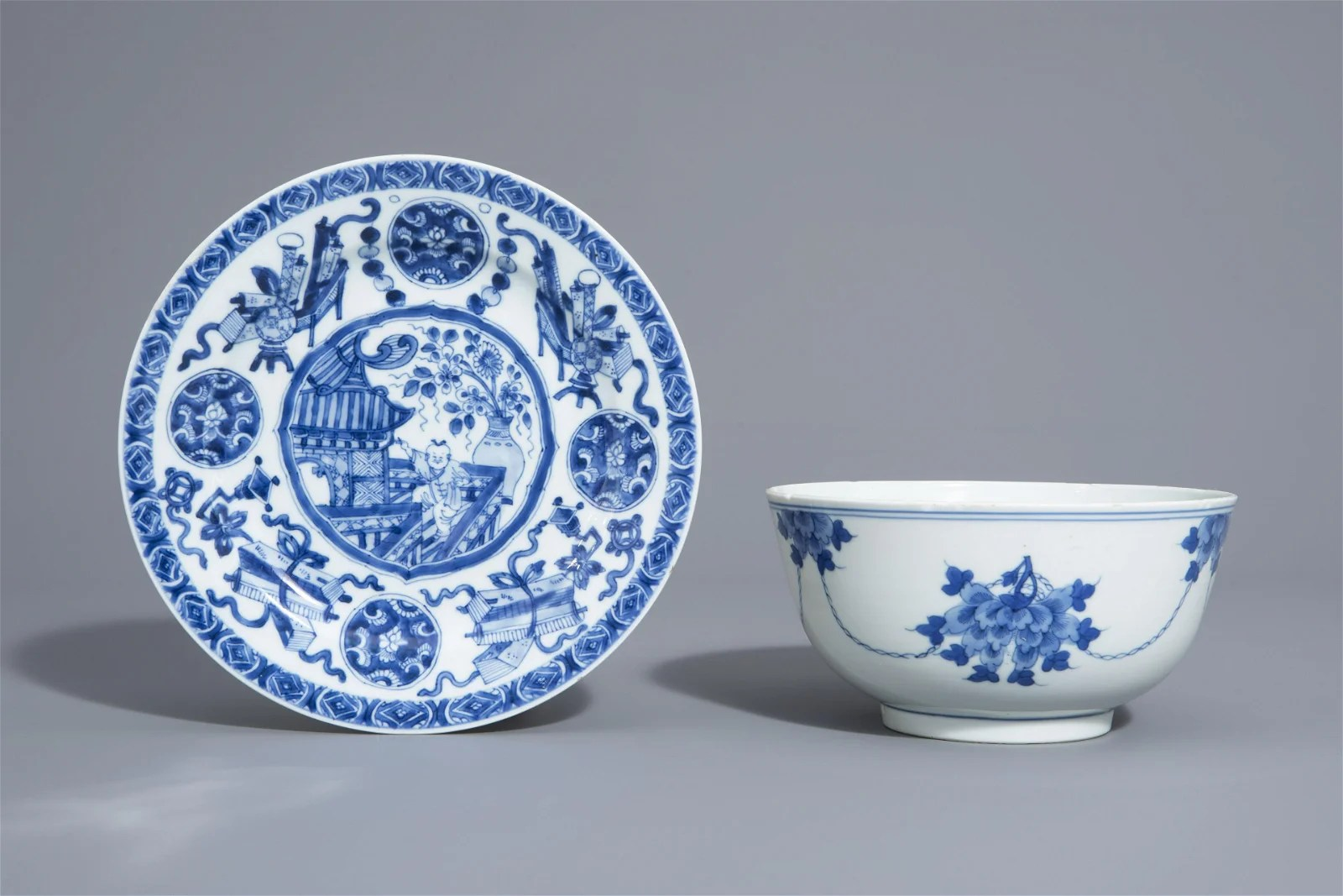 A Chinese blue and white dish and a bowl with different