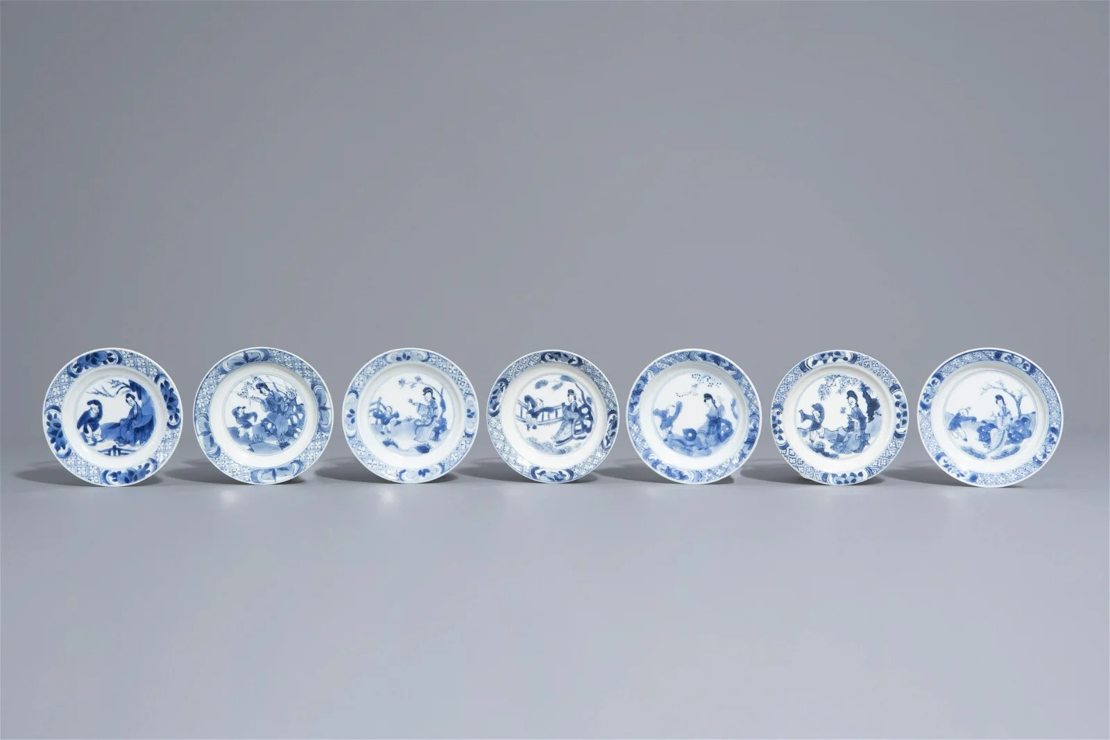 Seven Chinese blue and white 'Long Eliza' and boys