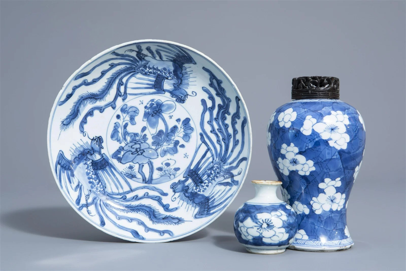 Two Chinese blue and white vases and a dish with
