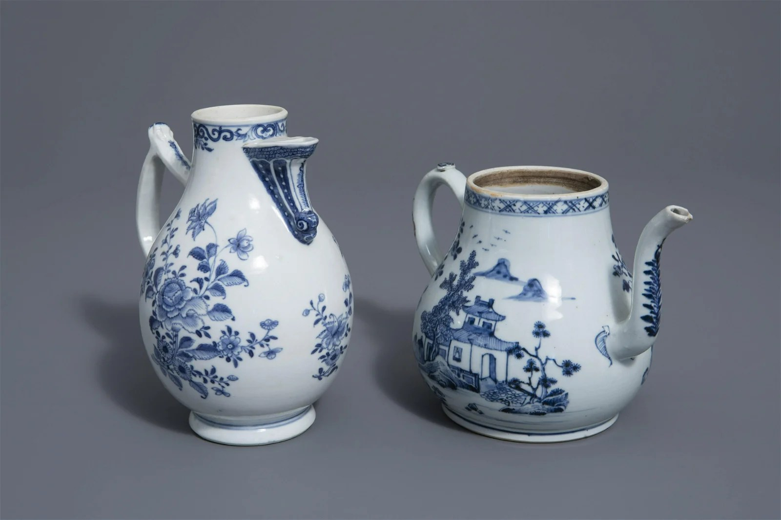 A large Chinese blue and white teapot and a water jug,