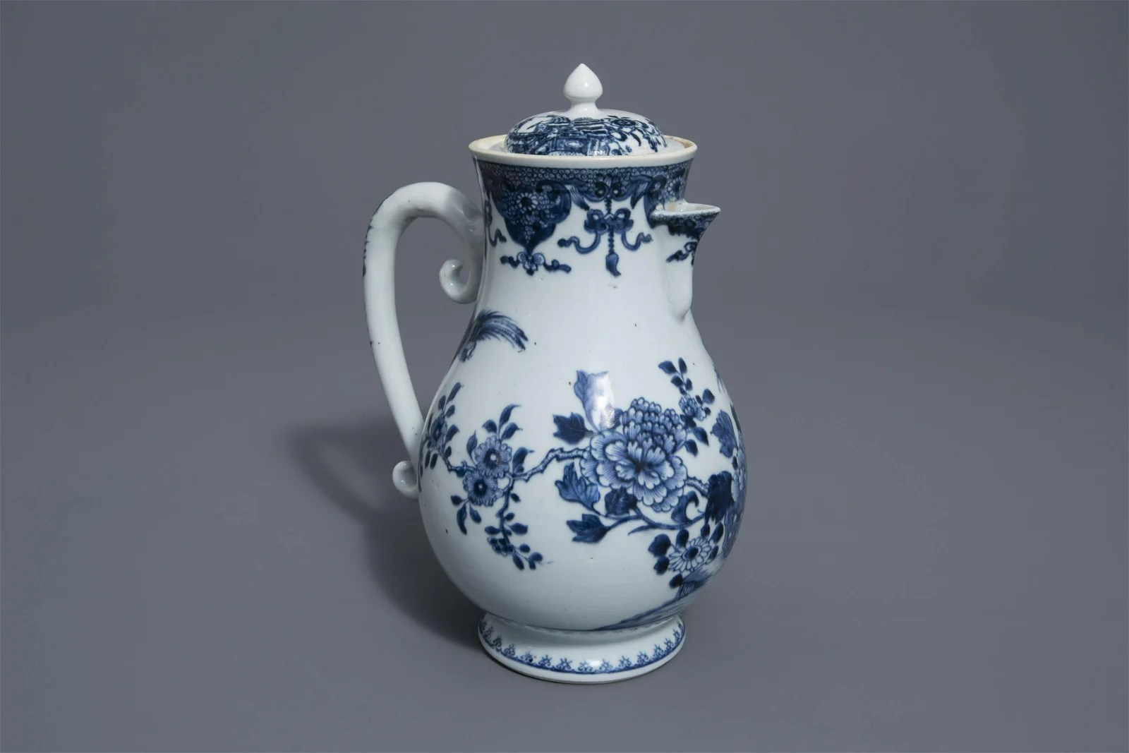 A very large Chinese blue and white ewer with floral