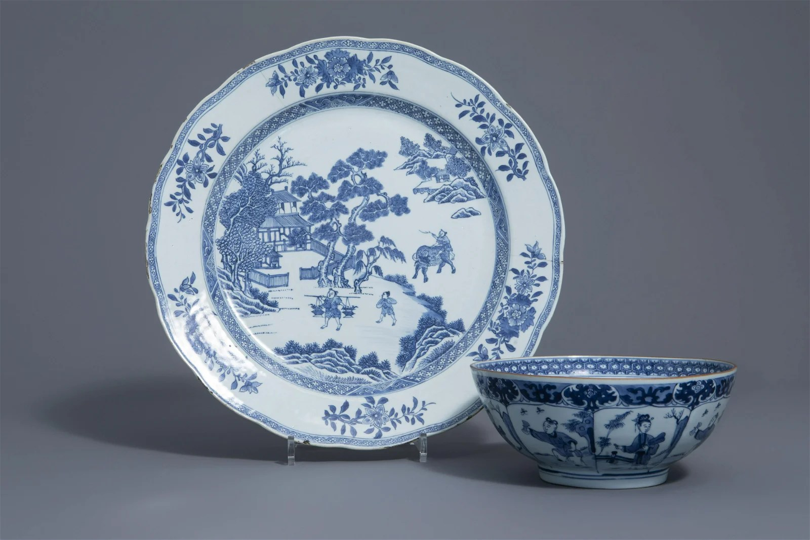 A large Chinese blue and white dish and a bowl with