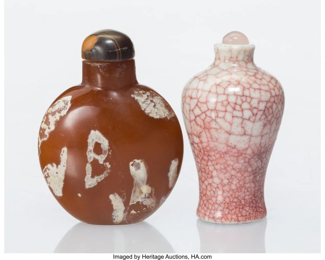 27061: Two Chinese Snuff Bottles 7-1/4 x 5-3/8 x 2-1/2