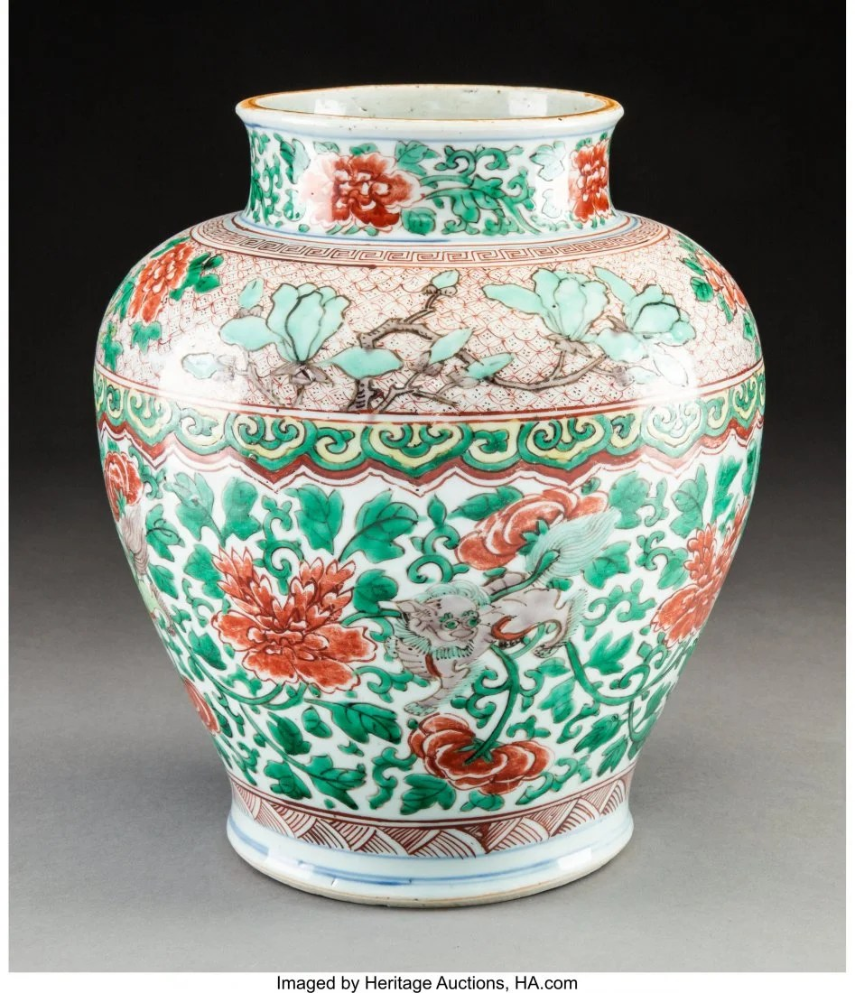 78097: A Chinese Wucai Porcelain Jar, Ming Dynasty-Qing