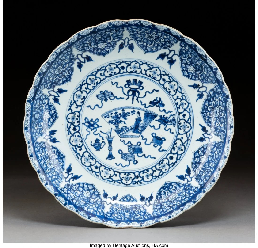 78115: A Chinese Blue and White Petal-Rimmed Double Foo