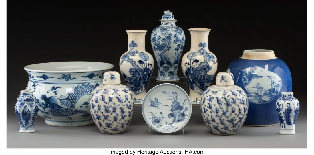 78123: A Group of Ten Chinese Blue and White Porcelain
