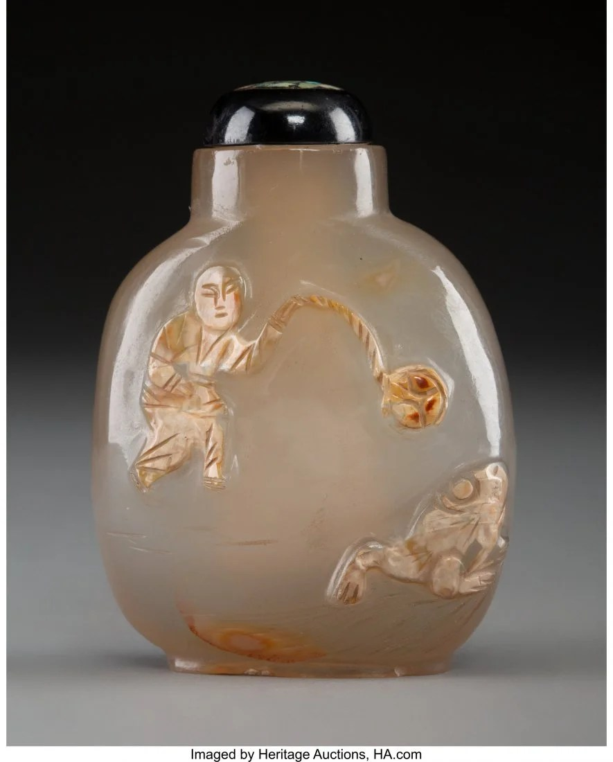 78429: A Chinese Silhouette Agate Snuff Bottle Depictin