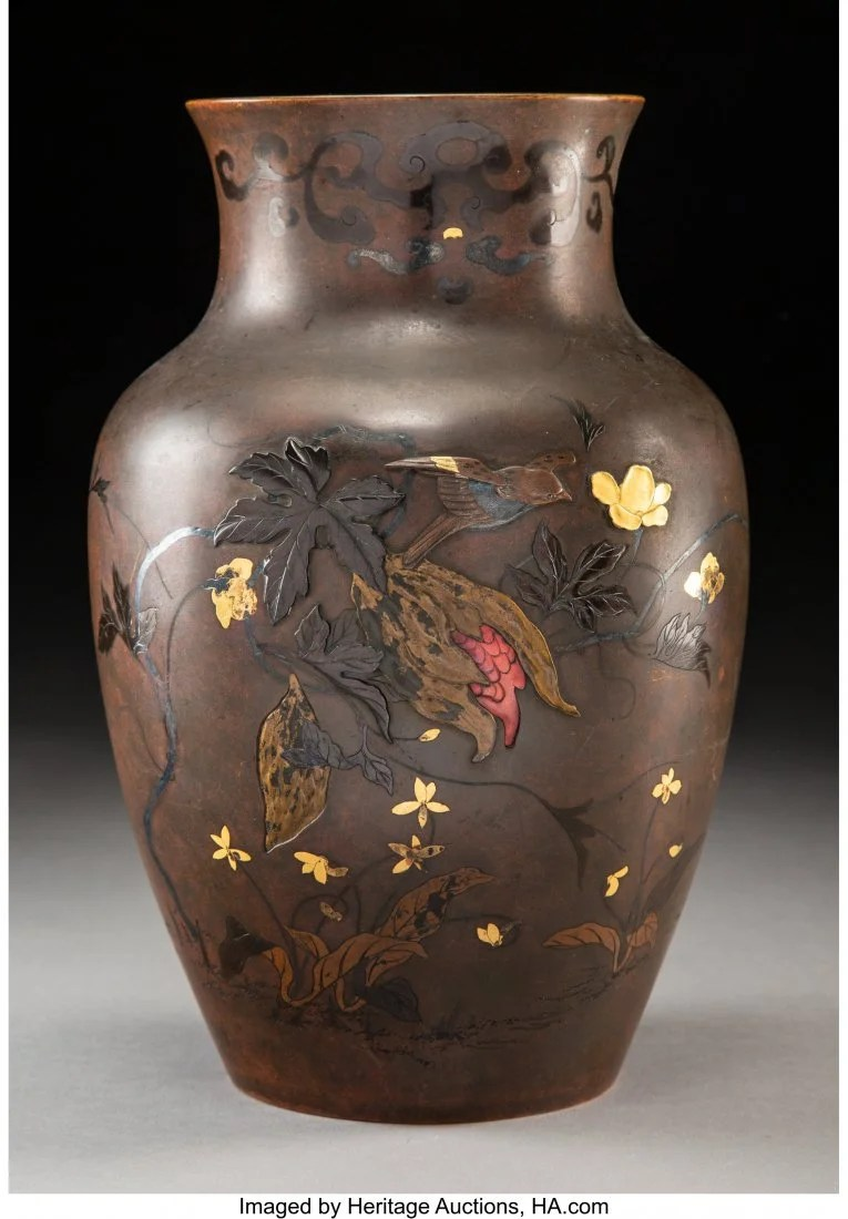 78401: A Japanese Bronze and Mixed Metal Inlay Vase, Me