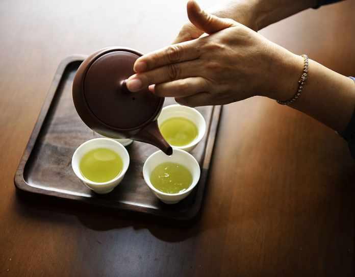 persona, tenencia, marrón, tetera, torrencial, té, blanco, tazas de té, Asia, asiático