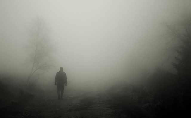 Uomo cammina attraverso la boscaglia nella nebbia