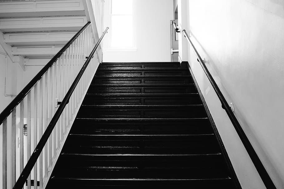 Stairwell Stairway Stairs Steps Railing Black And White | Black And White Stair Railing | Wall | Wrought Iron | Handrail | Victorian | Contemporary