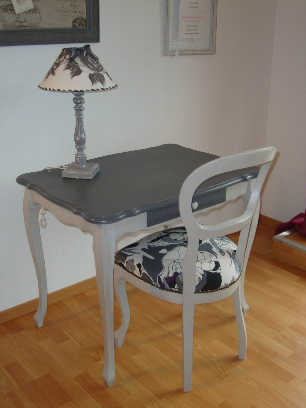 Coiffeuse Patine Ardoise Amp Sa Chaise Relooke Krative Dco