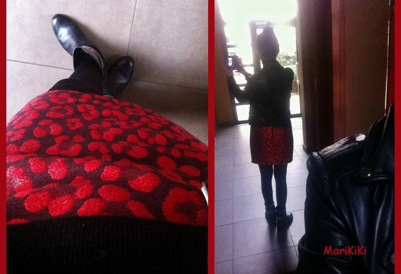 Jupe damassé rouge 03