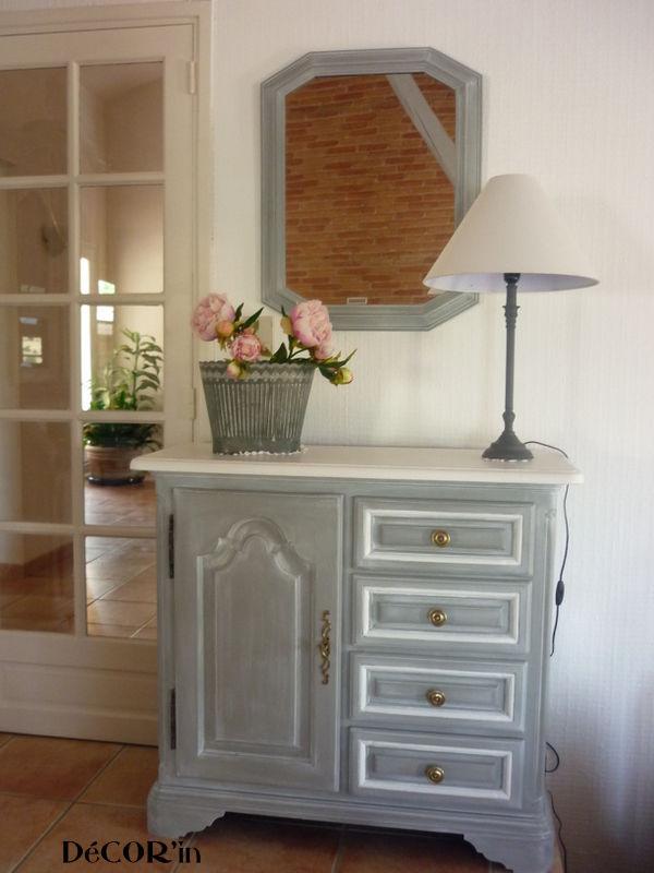 meuble bas style louis xii peint gris