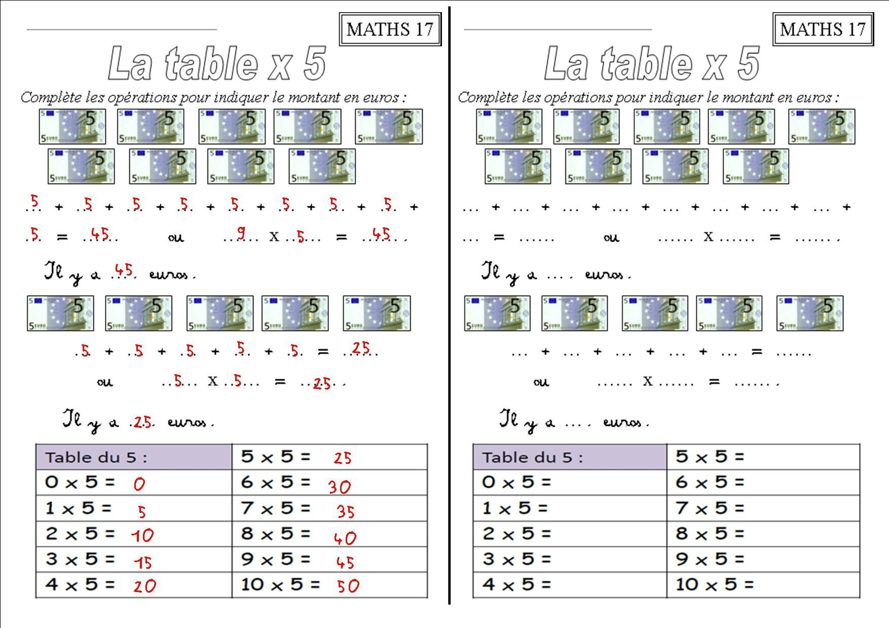 Les Tables De Multiplication Ce1 X 2 X 3 X 4 X 5 X