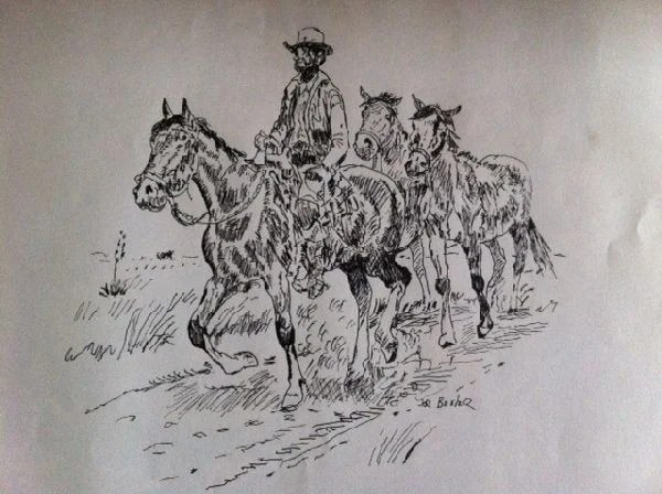 Joe Beeler Pen & Ink Drawing - Cowboy w/3 Horses : Lot 1038