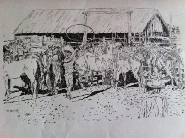 Joe Beeler Pen & Ink Drawing - Cowboys & Horse Herd : Lot 1412