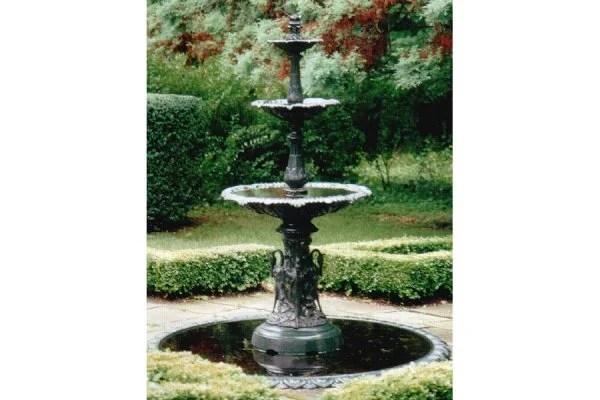 victorian garden fountain 389: ANTIQUE GARDEN VICTORIAN FISKE IRON FOUNTAIN : Lot 389