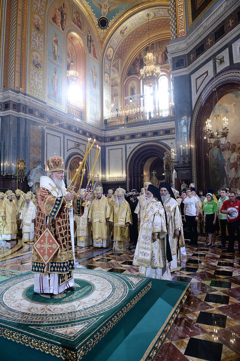 Liturghie la Catedrala Hristos Mântuitorul din Moscova în ziua în care 1000th ani de la adormirea Sfântului Vladimir