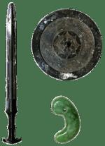 Répliques des 3 objets de Jinmu