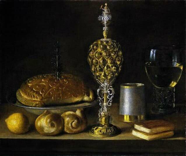 Tourte et récipients à boire de luxe ,hst 49,3 x 59,5cm , Lawrence Steigrad Fine Arts, Maastricht 2006