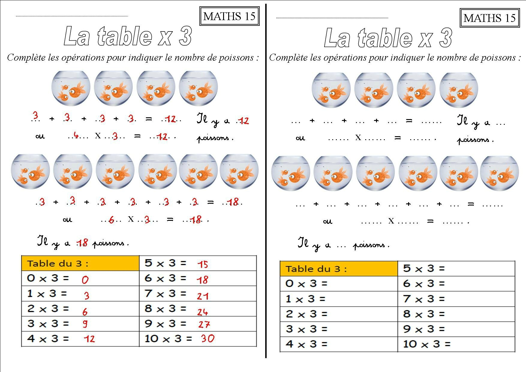 Exercice De Table De Multiplication 2 3 4 5 6