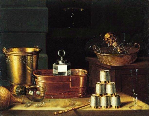 Nature morte à la corbeille de verres et au six gobelets , hst , 86,5 x 110cm - Pasadena , Norton Simon Foundation , U