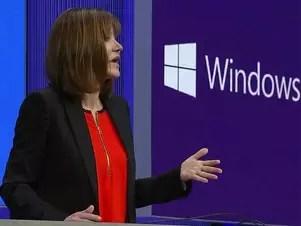 Chefe da divisão Windows, Julie Larson-Green, mostrou as novidades do novo sistema em um tablet de 8.1 polegadas Foto: Reprodução