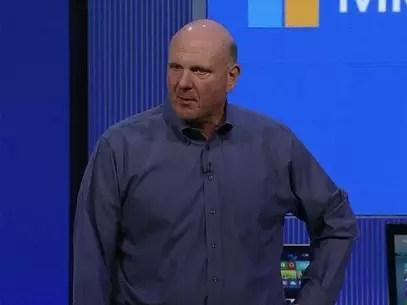 O CEO da companhia, Steve Ballmer, abre a conferência para desenvolvedores Foto: Reprodução