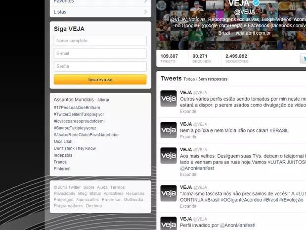 O perfil da revista Veja foi invadido no início da tarde desta segunda-feira Foto: Reprodução