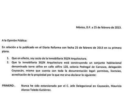 El Delegado de Coyoacán Mauricio Toledo difundió el documento sin membrete en su cuenta de Twitter, @mauriciotoledog. Foto: Reforma