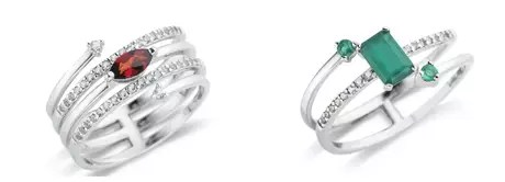 Anéis da coleção My Garden: vermelho custa R$ 400 e o verde R$ 350
