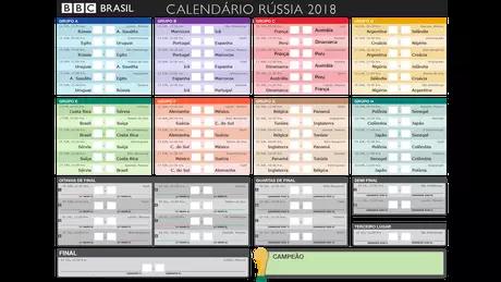 Tabela dos jogos da Copa 2018