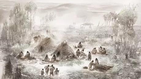 Esta ilustração mostra como teriam vivido os beríngios no Upward Sun River (Ilustração: Eric. S. Carlson)